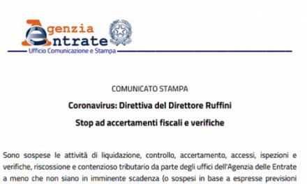 Stop ad accertamenti fiscali e verifiche